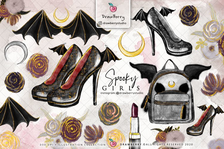 Halloween PNG Spooky Girls Gothic Clipart | Drawberry CP013 example image 1