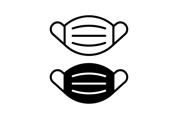 Mask vector icon black and white example image 1