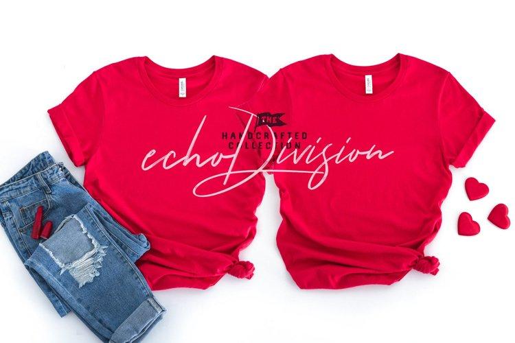 Valentine Shirt Mockup - BC 3001 - Red example