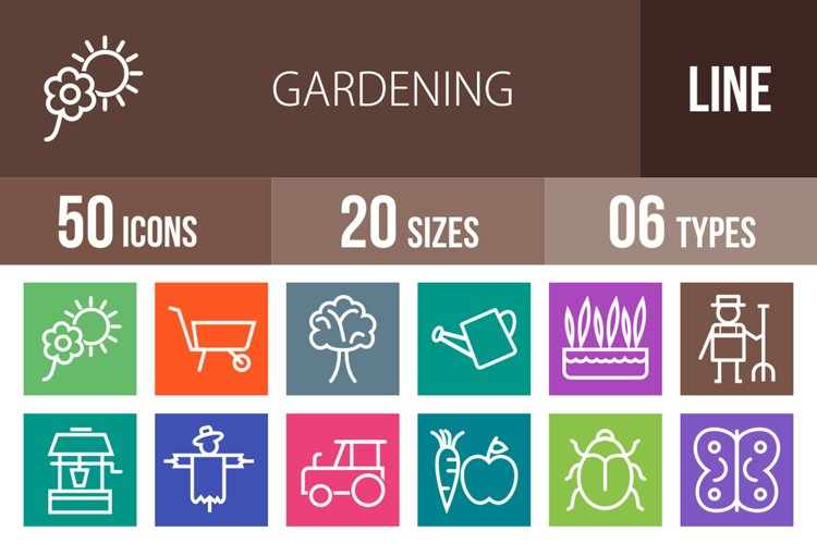 50 Gardening Line Multicolor B/G Icons example image 1