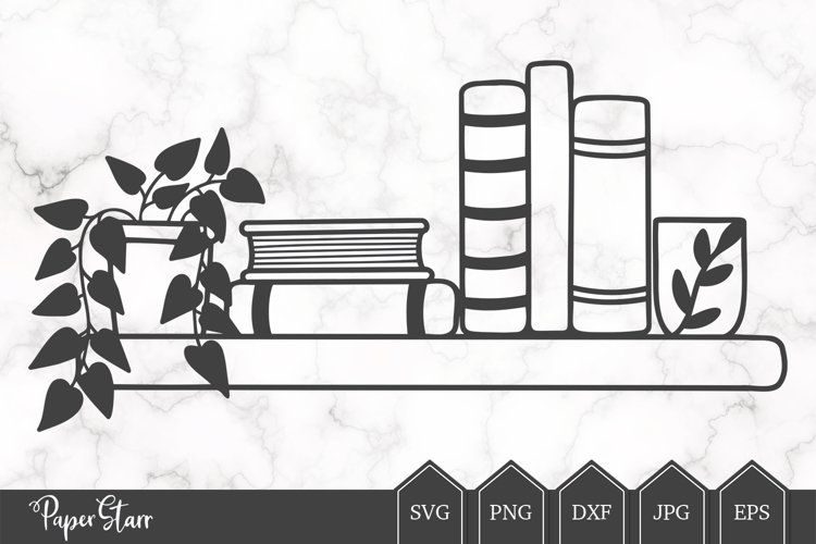 Bookshelf SVG Cut File, House Plant Cut File
