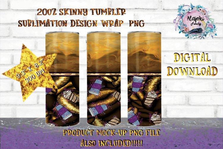 Coffee Bean|Sublimation Design|20oz Skinny Tumbler Wrap example image 1