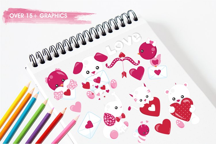 Valentine Animals graphics and illustrations - Free Design of The Week Design1