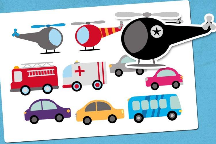 City vehicles illustrations clip art