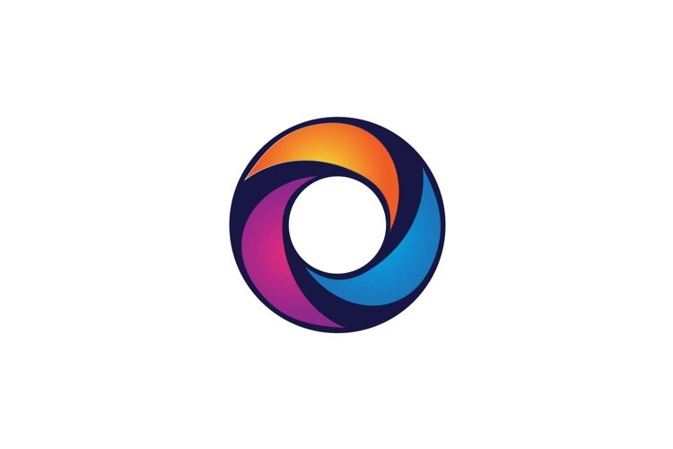 Letter O circle logo design, multicolor letter icon vector example image 1