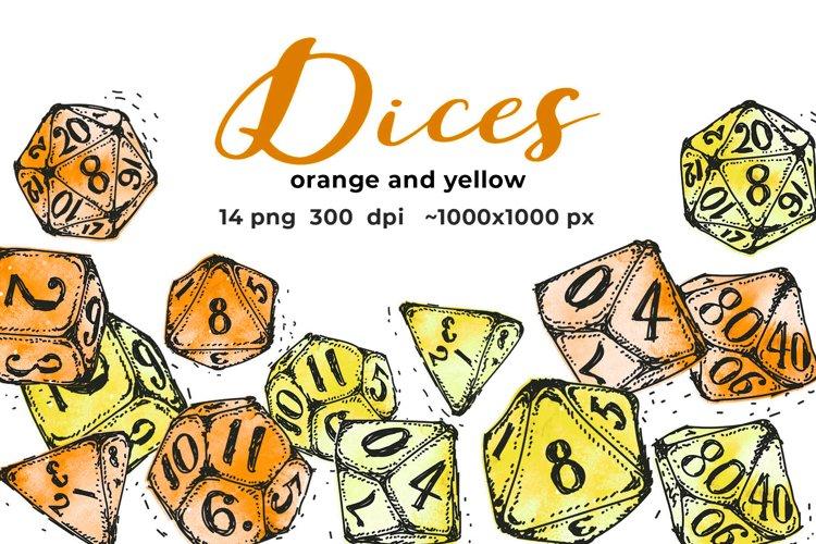 Yellow and orange dices
