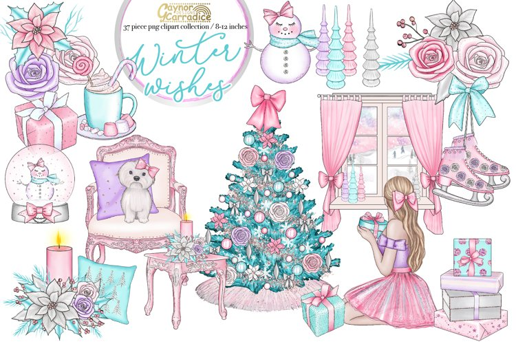 Winter Wishes - pink Christmas clipart collection example image 1