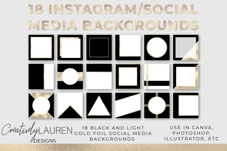 Black and Light Gold Foil Instagram Template example image 1