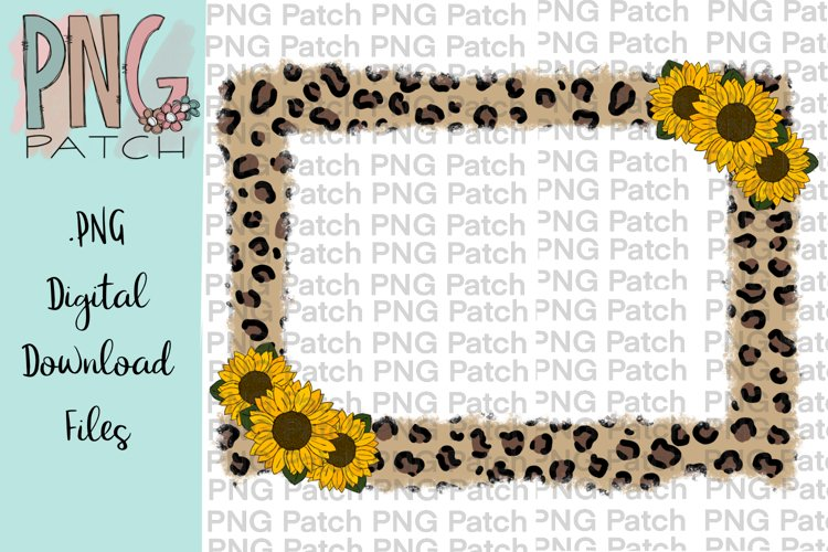 Torn Edge Leopard Print Frame with Sunflowers, Flower PNG example image 1