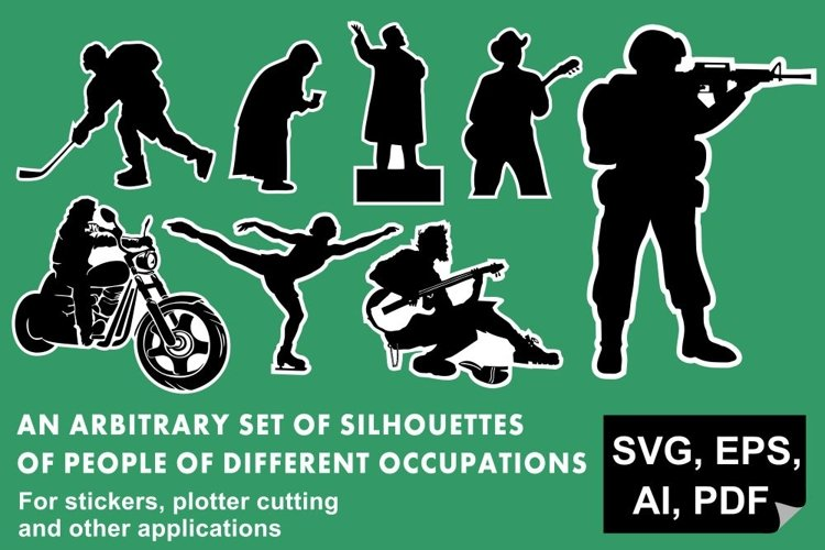 Set of silhouettes People of different occupations example image 1