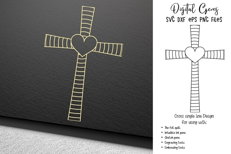 Cross single line sketch file / foil quill / engraving
