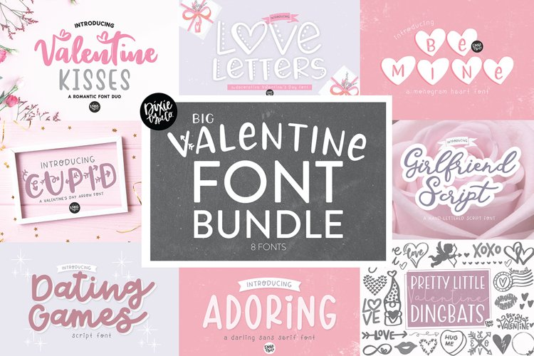 VALENTINE'S DAY FONT BUNDLE - Dixie Type Co. example image 1