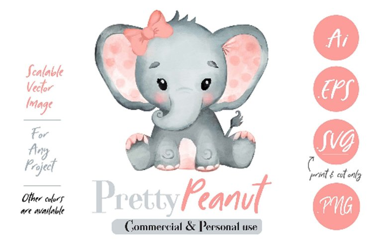 Peach Pink Watercolor Girl Baby Elephant Clipart Vector example image 1