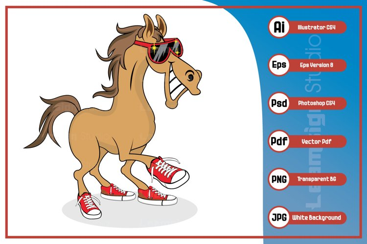 Horse cartoon smiling wearing sunglass and shoes character example image 1