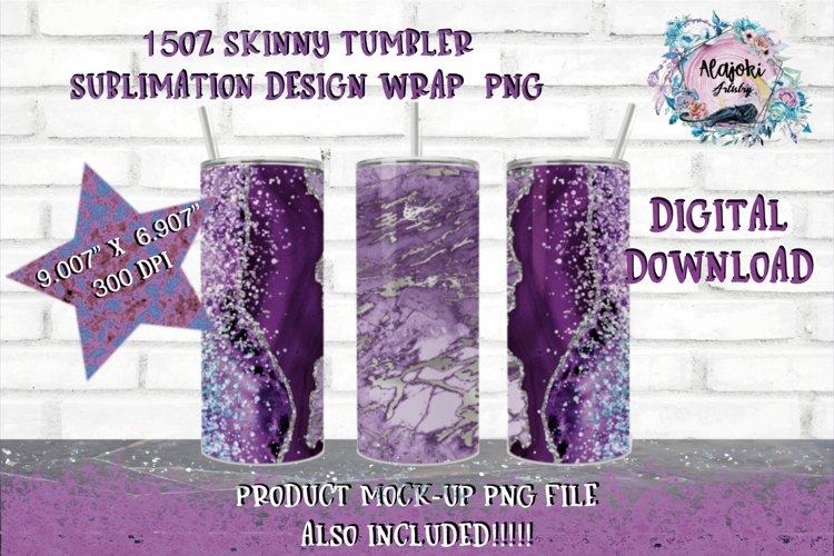 15oz Sublimation Marble  Skinny tumbler Design wrap example image 1