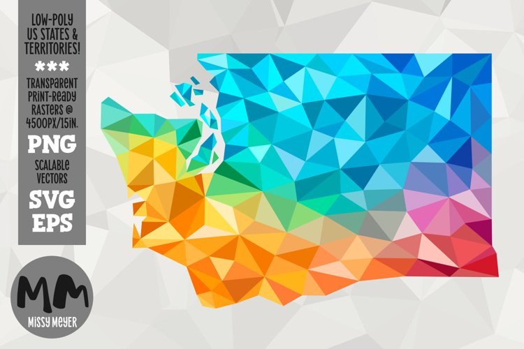 Washington state low-poly rainbow for sublimation & print