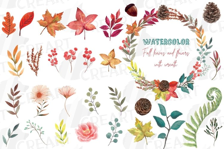 Fall leaves and flowers decor. Watercolor autumn wreath png example image 1