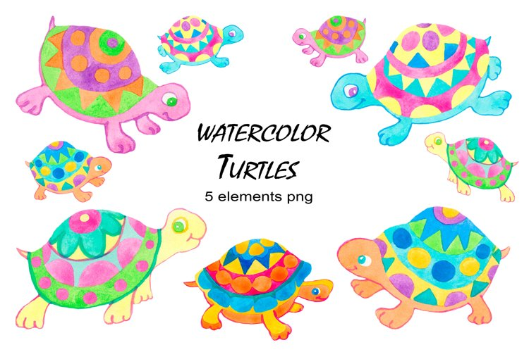 Turtles watercolor clipart collection example image 1