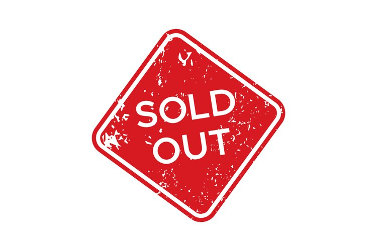 Red sold out rubber stamp. Isolated vector example image 1
