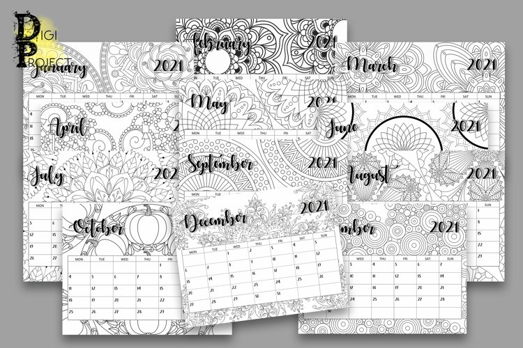 Printable Coloring Mandala Calendar 2021 Monday Start example image 1