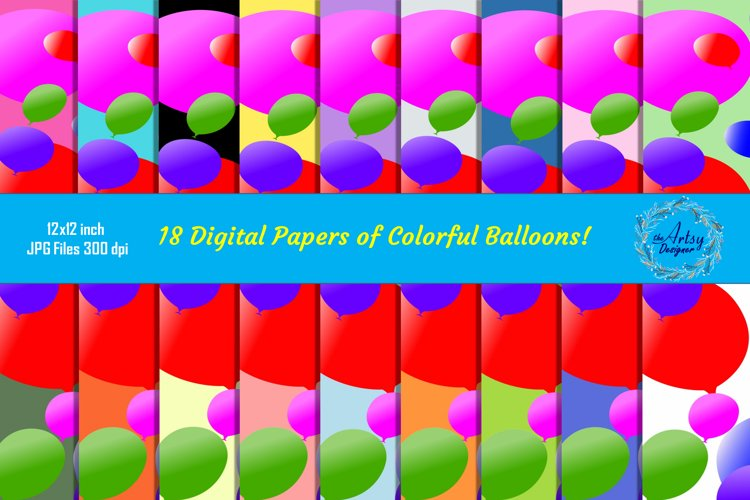18 Balloons Pattern Digital Papers Birthday Party Background