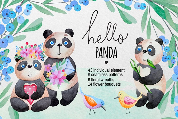 Watercolor Panda and flowers example image 1