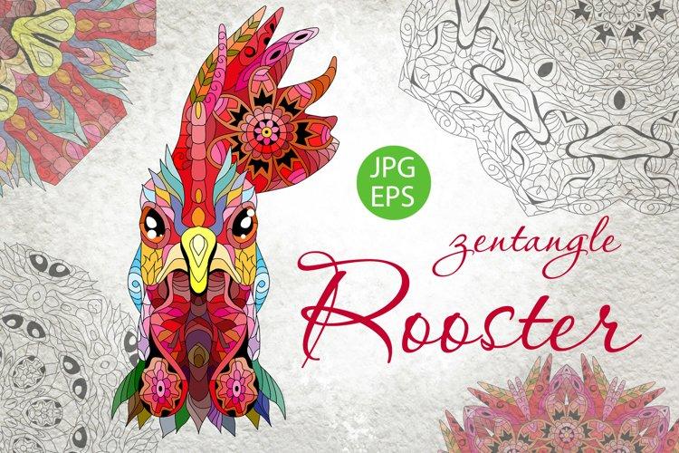 Zentangle rooster head