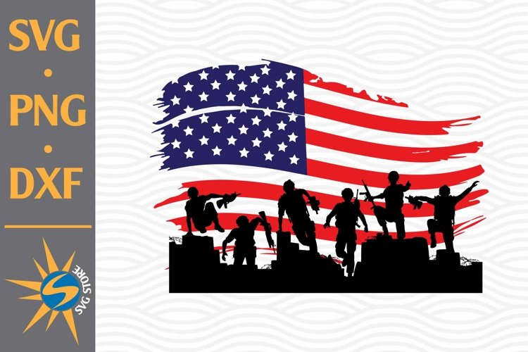 Soldier American Flag SVG, PNG, DXF Digital Files Include
