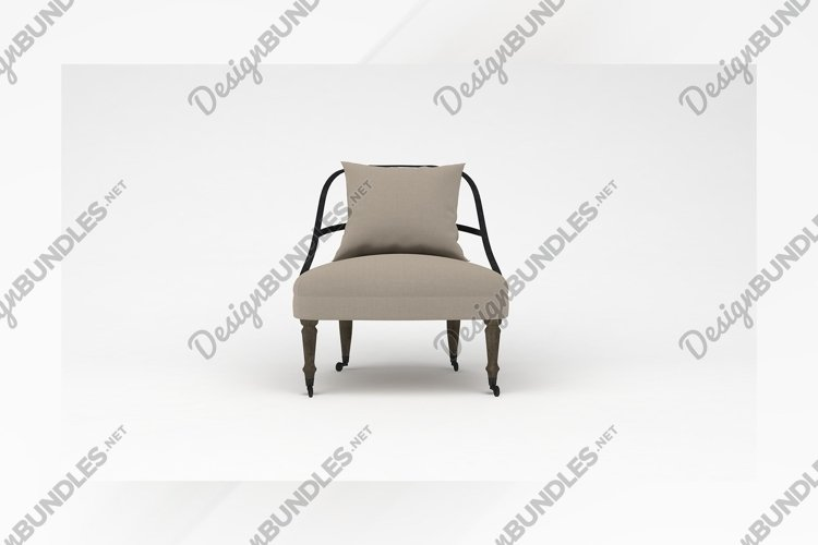 Retro wooden chair front view furniture 3d rendering example image 1