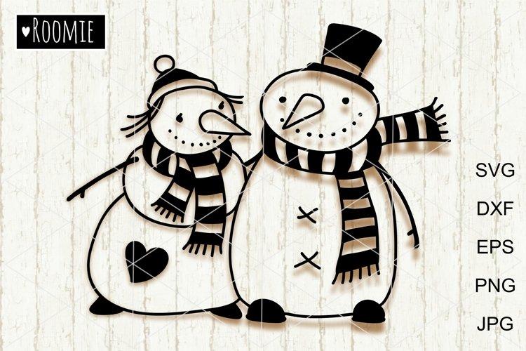 Christmas Snowman svg files, Winter family vector clipart