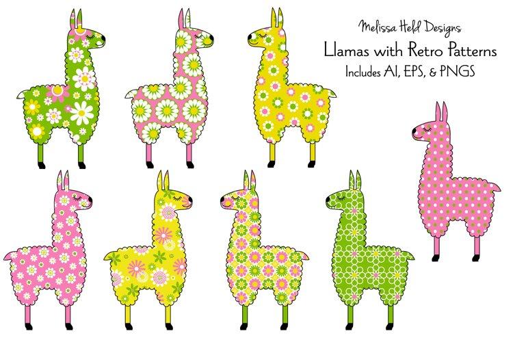 Llamas with Retro Patterns example image 1