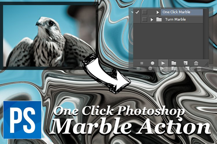 One Click Marble Photoshop Action - Turn Any Photo into Marble example