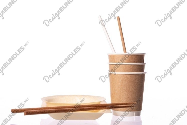 Disposable brown paper cup waffle texture with straws example image 1