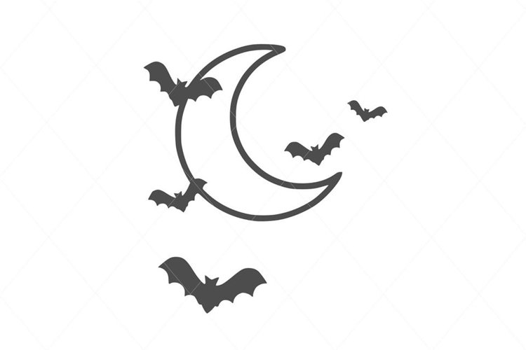 Cute Flying Bats on the Moon SVG File Clipart example image 1