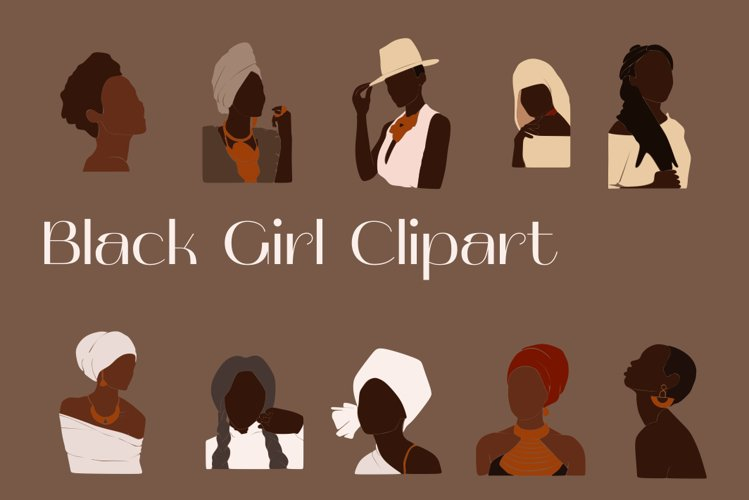 Black Girl Clipart, portrait vector, abstract woman, female example image 1