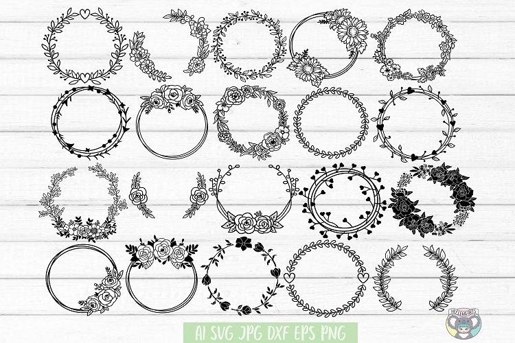 Floral Wreath svg, Bundle 20 DESIGNS, Floral Frame, Cricut example image 1