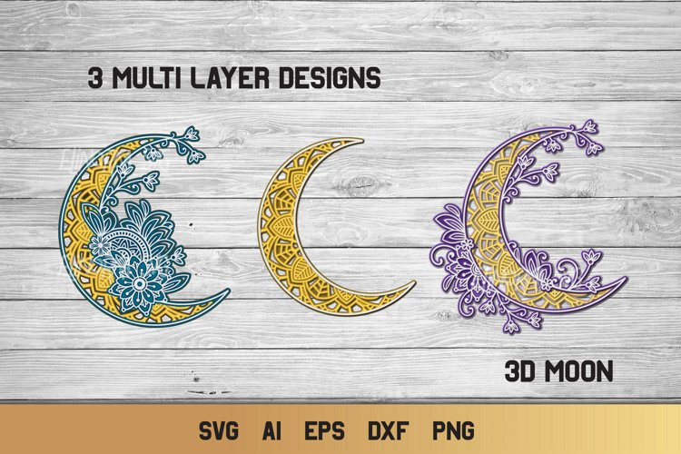 3D Layered Moon SVG Bundle | Multi Layer Crescent Moon svg example image 1