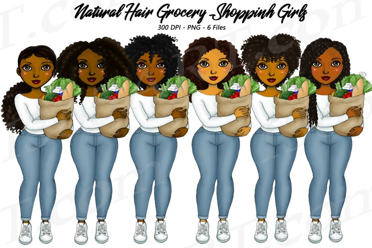 Grocery Shop Girls Chores Clipart, African, Natural Hair PNG