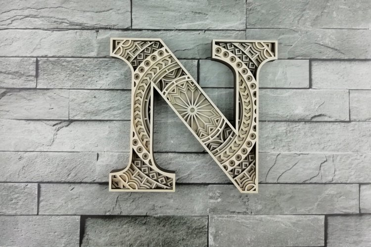 Layered Letter N, Layered letters SVG, Multilayer Letters