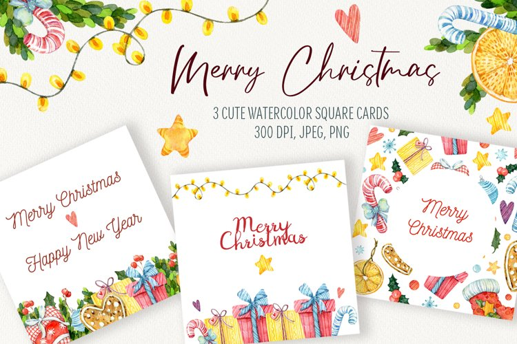 Watercolor Christmas cards templete. Christmas poster example image 1