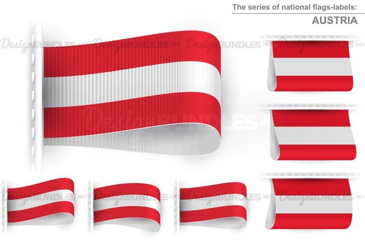 Vector Austria Flag Tag Clothes Label Sticker Sewn Set