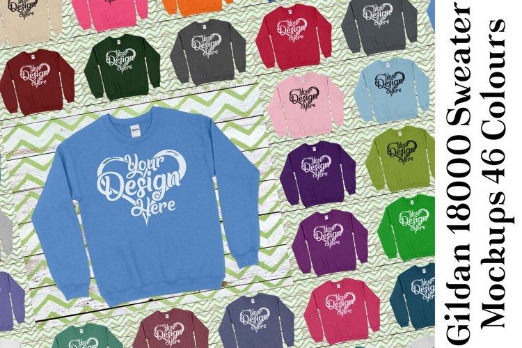 Gildan Sweatshirt Mockup 18000 Mock Up Black White Grey 949 example image 1