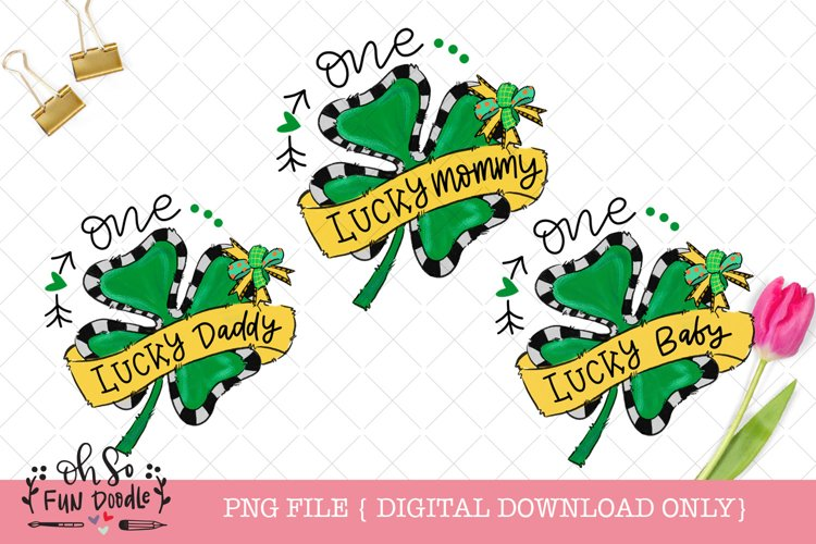 One lucky mommy, daddy, baby, St Patricks sublimation bundle example image 1