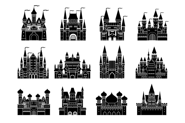 Monochrome vector illustrations set with different medieval example image 1