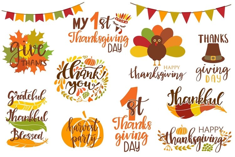 Cute thanksgiving day icons and lettering clipart vector set