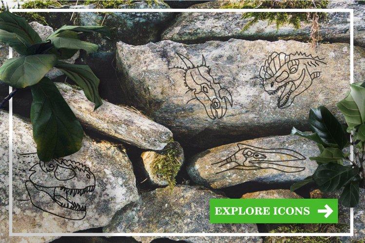 25 Dinosaur Hand Drawn Icons, Logos example 4