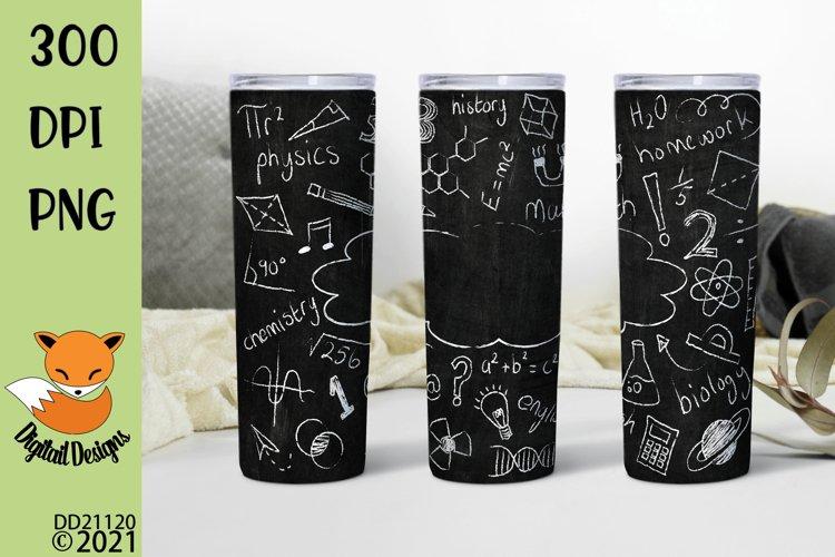 Chalkboard Doodles School Teacher Skinny Tumbler Sub example image 1