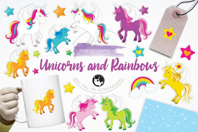 Unicorns and Rainbows graphics and illustrations
