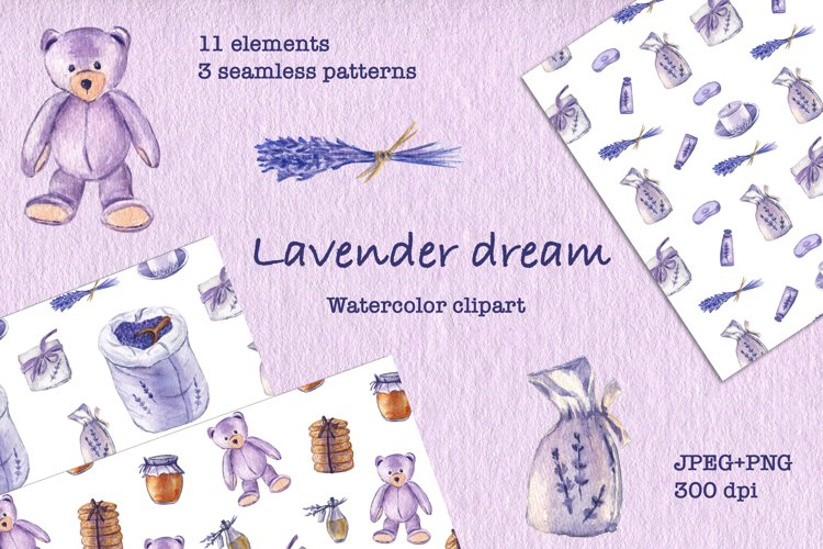 Lavender Dream. Watercolor clipart and patterns. JPEG, PNG