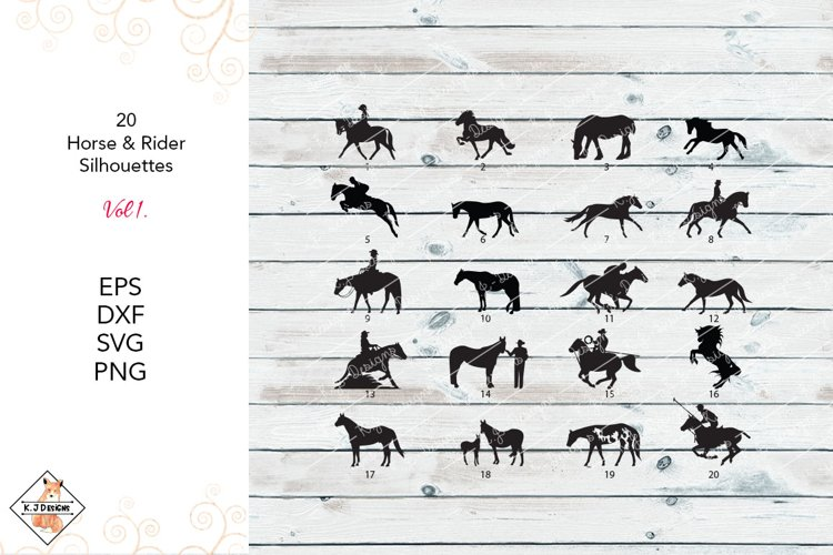 Horse & Rider Silhouettes SVG  DXF PNG EPS example image 1